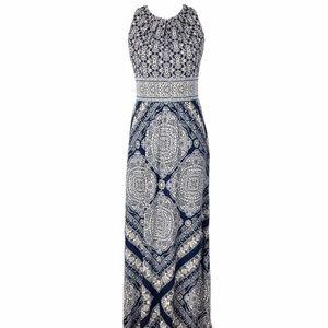 Women's Maxi Dress Sz 4 Blue Tan Print Summer